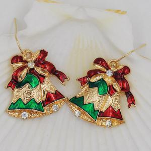 Pair of Sweet Rhinestone Bell Shape Christmas Earrings Jewelry For Women -