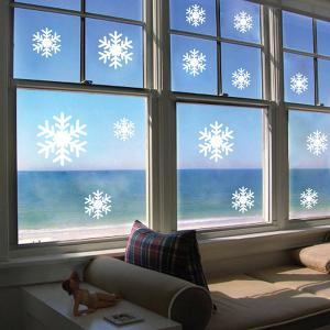 Sweet Snowflake Pattern Vinyl Wall Decal Stickers Christmas Decoration - White - 60*90cm