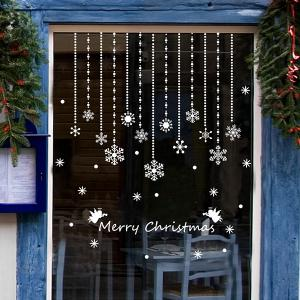Removeable Snowflake Curtain Pattern Wall Sticks Christmas Decoration -