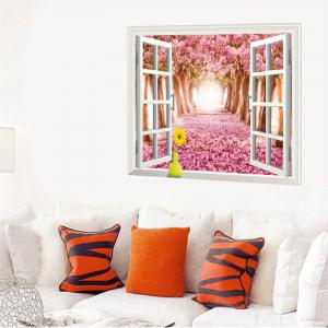 Beautiful 3D Cherry Tree Style Removable PVC Wall Stickers Colorful Room Window Decoration -