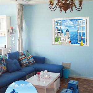 Beautiful 3D Love Sea Style Removable PVC Wall Stickers Colorful Room Window Decoration - Colorful - Size 1