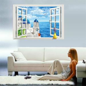 Beautiful 3D Love Sea Style Removable PVC Wall Stickers Colorful Room Window Decoration - COLORFUL