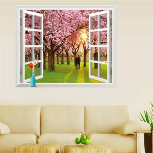 3D Romantic Cherry Tree Style Removable PVC Wall Stickers Colorful Room Window Decoration -