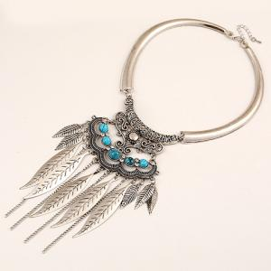 Ethnic Hollow Out Leaf Tassel Torque For Women -