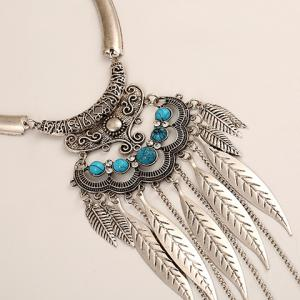 Ethnic Hollow Out Leaf Tassel Torque For Women - SILVER