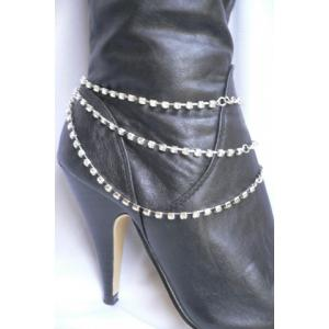 Rhinestone Claw Chain Layered Boot Anklet