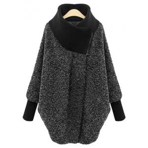 Women's Chic Splicing Long Sleeve Turtleneck Coat