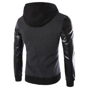 Vogue Drawstring Hooded PU Leather Spliced Zipper Design Long Sleeves Men's Slimming Jacket -