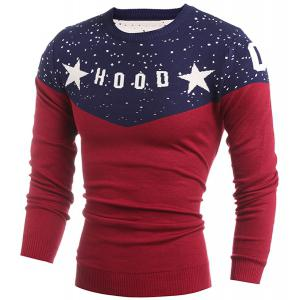 Round Neck Letter and Star Print Splicing Design Long Sleeve Men's Sweater -