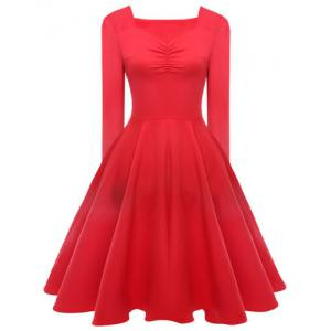 Elegant Sweetheart Neck Long Sleeve Solid Color Ruched Women's Dress - Red - L