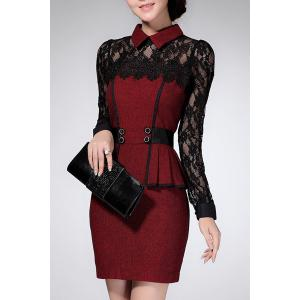 Chic Flat Collar Long Sleeve Lace Design Flounced Women's Dress -