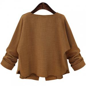 Simple Style Long Sleeve Pure Color Jacket For Women - DEEP BROWN XL