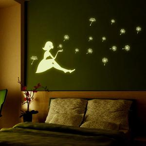 Dandelion and Girl Style Fluorescent Wall Stickers Funny Luminous Wallpaper for Home Decorations -