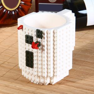 DIY Creative Building Blocks Style Build-On Brick Mug Tea Cup - White - S