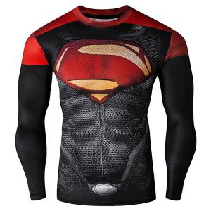 Cool 3D Superman Pattern Color Block Skinny Round Neck Long Sleeves Men's Quick-Dry T-Shirt - Xl