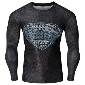 Fashion Round Neck 3D Superman Pattern Skinny Quick-Dry Long Sleeves Men's Superhero T-Shirt