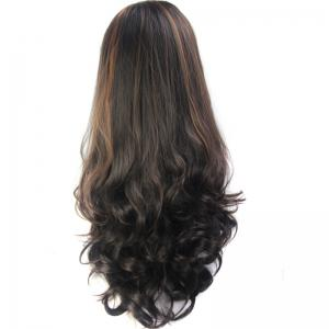 Elegant Shaggy Wave Long Capless Vogue Brown Highlight Synthetic Half Wig For Women - Colormix