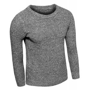 Knitting Round Neck Solid Color Slimming Long Sleeve Men's Sweater - DEEP GRAY M