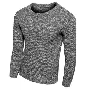 Knitting Round Neck Solid Color Slimming Long Sleeve Men's Sweater - Deep Gray - M