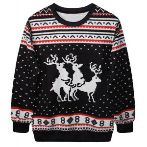 Cute Round Neck Fawn Print Long Sleeve Christmas Sweatshirt For Women - Black - One Size(fit Size Xs To M)