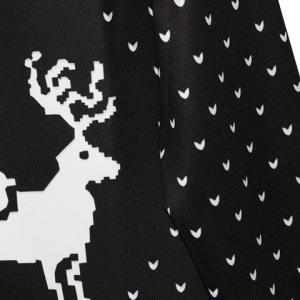 Cute Round Neck Fawn Print Long Sleeve Christmas Sweatshirt For Women - BLACK ONE SIZE(FIT SIZE XS TO M)
