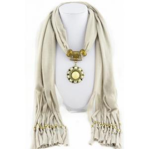 Chic Rhinestone and Flower Pendant Embellished Jewelry Scarf For Women -