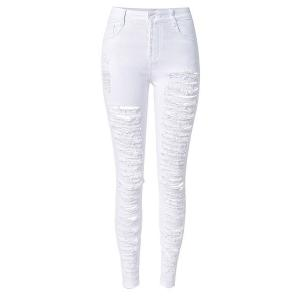 Chic High-Waisted Broken Hole Design Solid Color Women's Jeans - White - M