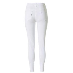 Chic High-Waisted Broken Hole Design Solid Color Women's Jeans -