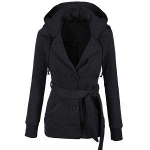 Stylish Hooded Long Sleeve Solid Color Belted Single-Breasted Women's Hoodie - Black - S