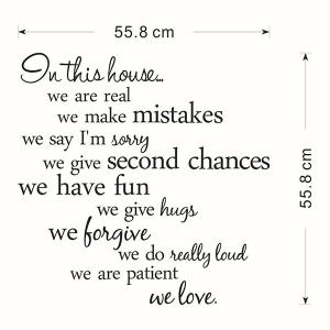 Creative Removable Proverbs In This House 55.8*55.8cm Wall Stickers For Homes -