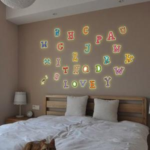 Colorful English Alphabet Style Fluorescent Wall Stickers Funny Luminous Wallpaper for Home Decorations -