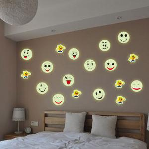 Colorful Cartoon Smiling Face Style Fluorescent Wall Stickers Funny Luminous Wallpaper for Home Decorations -