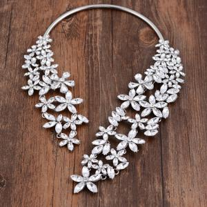 Hollow Out Rhinestone Floral Cuff Necklace - WHITE