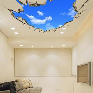 Chic Blue Sky and White Cloud Pattern Removeable 3D Wall Sticker