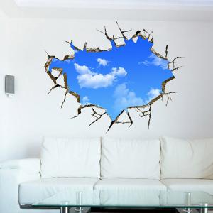 Chic Blue Sky and White Cloud Pattern Removeable 3D Wall Sticker - AZURE