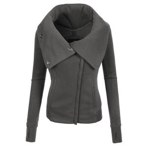Chic Hooded Long Sleeve Pure Color Zippered Women's Jacket - Deep Gray - 2xl
