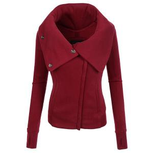 Chic Hooded Long Sleeve Pure Color Zippered Women's Jacket