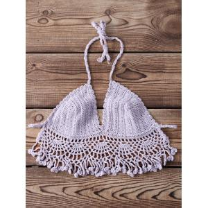 Sexy Halter Sleeveless Solid Color Fringed Knitted Women's Bra