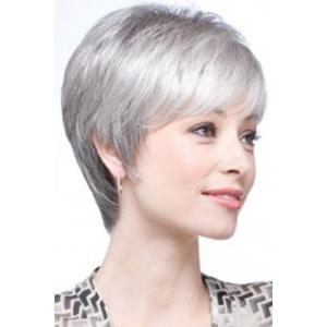 Graceful Short Inclined Bang Synthetic Vogue Silvery Gray Straight Capless Wig For Women - SILVER GRAY
