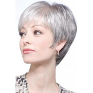 Graceful Short Inclined Bang Synthetic Vogue Silvery Gray Straight Capless Wig For Women -