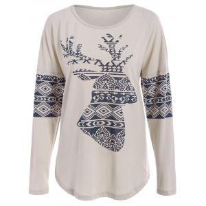 Casual Scoop Neck Long Sleeve Elk Printed Christmas T-Shirt For Women