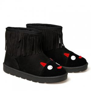 Cute Fringe and Cartoon Pattern Design Women's Snow Boots -