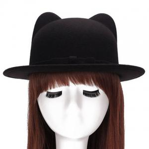 Chic Small Bow Lace-Up Embellished Felt Cat Ear Hat For Women - Black - 2xl