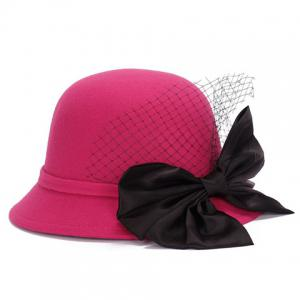 Chic Big Bow and Mesh Yarn Embellished Felt Cloche Hat For Women - ROSE