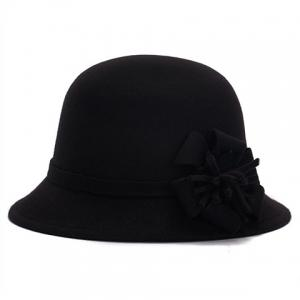 Chic Flower Shape Embellished Bright Color Felt Cloche Hat For Women