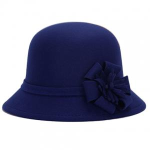 Chic Flower Shape Embellished Bright Color Felt Cloche Hat For Women - Sapphire Blue