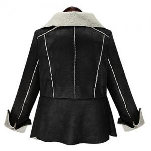 Trendy Turn-Down Collar Fuzzy Long Sleeve Coat For Women -