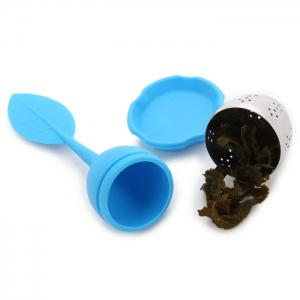 Silicone Handle Leaf Tea Infuser Steel Ball Strainer with Drip Tray - Blue - 2xl