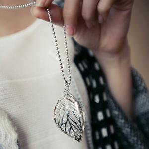 Faux Crystal Cut Out Leaf Sweater Chain - SILVER