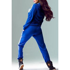 Active Long Sleeve Wings Printed Pullover Sweatshirt and Jogger Pants Twinset For Women -